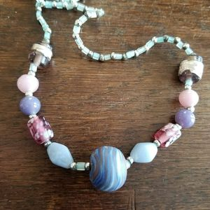 Striped Bead Necklace Pink Grey Lavender